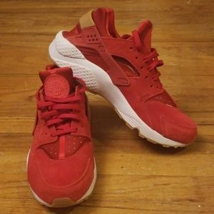Red Suede Huarache's